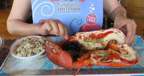 Fresh, sweet, succulent, our first lobster in Gaspésie at Capitaine Homard in Sainte Flavie.