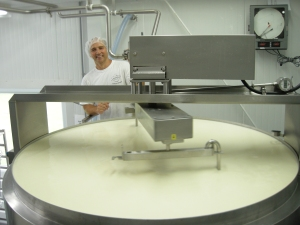 Cheesemaker Remi Gélinas starts a new batch of Baluchon.