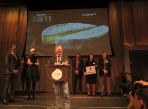 Jean Morin accepts the Grand Champion award at the Canadian Cheese Grand Prix night, for the second time in four years.