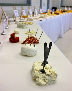 Entries in the inaugural Canadian Amateur Cheesemaking Awards presented for sampling by the public.